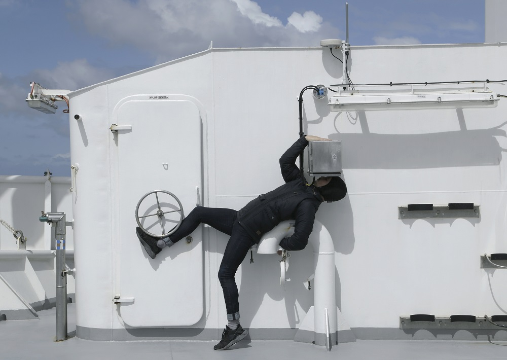 Choreographer James Batchelor aboard the Investigator photographed by Charles Tambiah