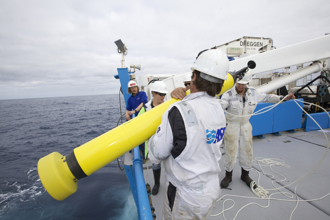 RV Investigator launching a float in the Southern Ocean